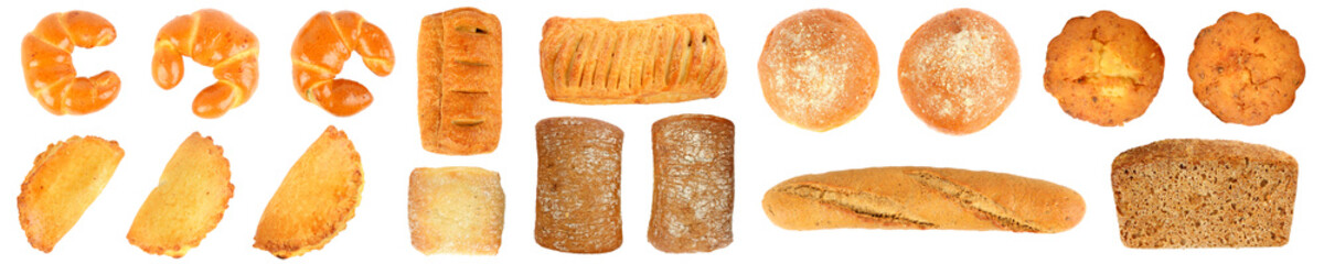 Wall Mural - Big set of fresh baked goods isolated on white
