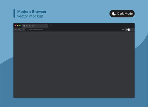 modern browser  dark mode template vector
