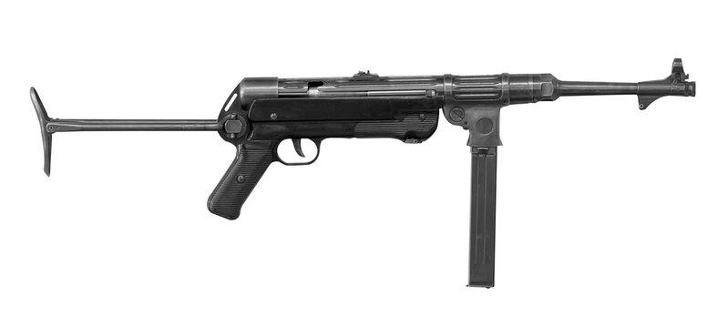 MP-40 German submachine gun isolated on white background. World War II german weapon.