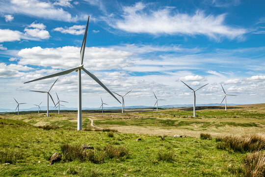 Wind turbines on Whitelee wind farm in Scotland on a  sunny spring day.