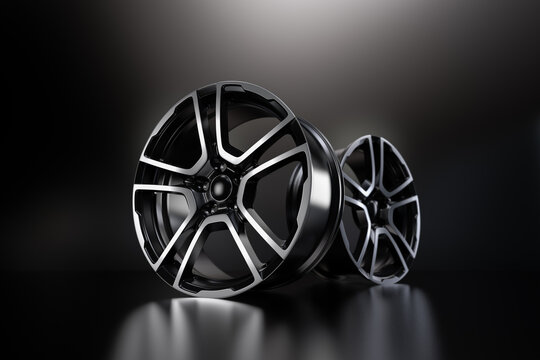 car alloy wheel, isolated on black. 3D rendering illustration.