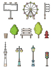 Fototapete - city elements flat style colorful vector icons
