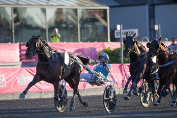 Horse Propulsion and driver Orjan Kihlstrom win the final of Elitloppet trotting event at Solvalla track without an audience due to the coronavirus disease (COVID-19) outbreak, in Stockholm