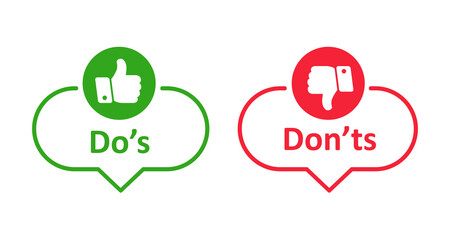 Dos and donts like thumbs up or down. Like or dislike index finger sign. Thumb up and thumb down sign - stock vector