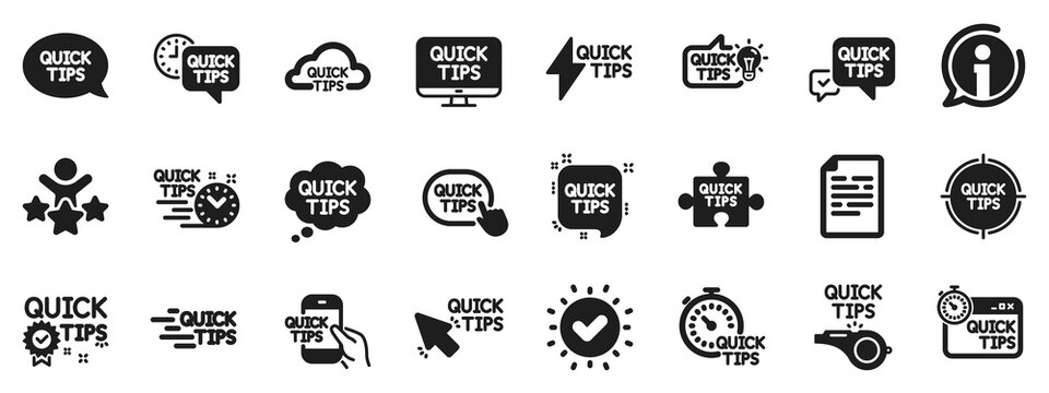 Set of Helpful tricks, Solution and Quickstart guide icons. Quick tips icons. Tutorial, helpful tips and turning tricks. Hand hold smartphone, Quick chat, tutorial, whistle signs. Vector