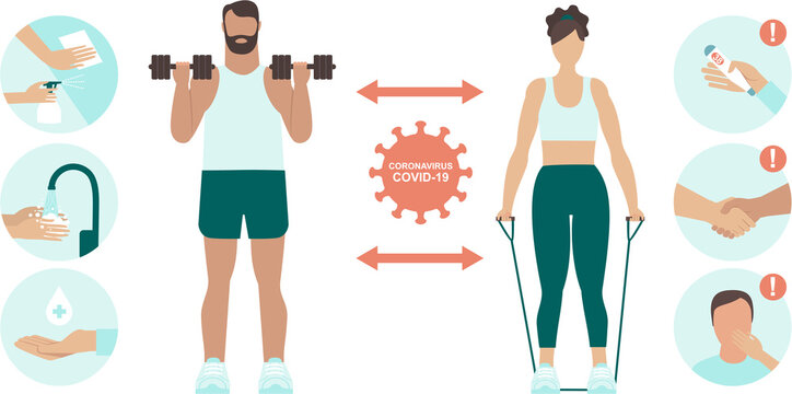 Prevention Practices for Gym and sport club. Coronavirus covid-19 virus protection tips.Safe exercise in public place. Protectyourself and others. Flat vector illustration set
