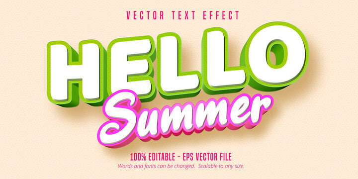 Hello summer text, comic style editable text effect