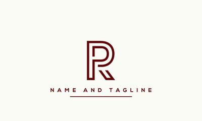 Fototapeta Alphabet letters monogram icon logo RP or PR obraz