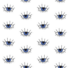 Vector seamless pattern of hand drawn doodle sketch blue eye isolated on white background