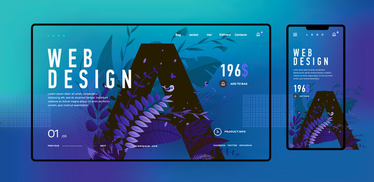 Web design. Vector image. Trendy design of the web interface and an example picture in the background. Template web site and mobile screen.