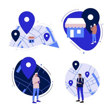 Simple flat cartoon illustrations set. Showing map, store locator and young man looking on mobile phone to find location.