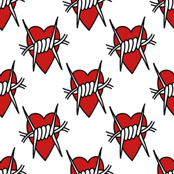 barbed wire heart seamless doodle pattern, vector illustration