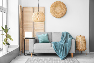 Wall Mural - Stylish interior of living room  with sofa