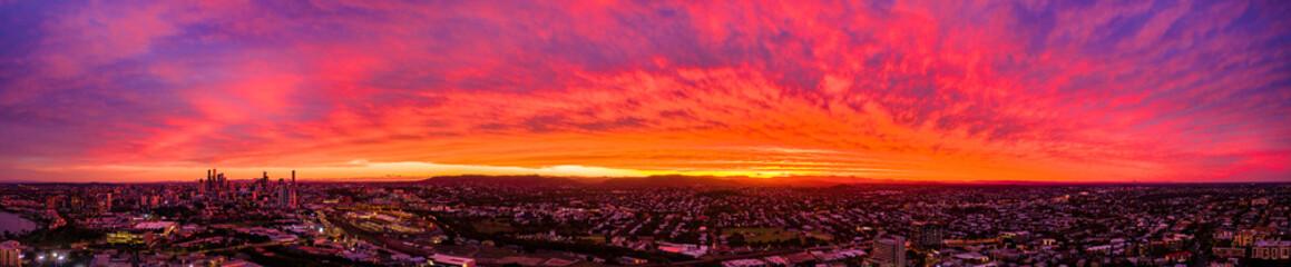 Poster Red Epic Sunset over Brisbane Australia