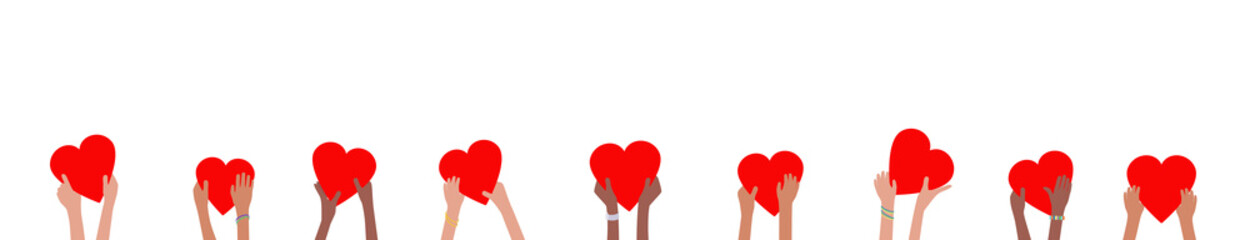 Donation banner with children hands holding and giving red hearts