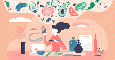 Cooking process vector illustration. Thinking new recipe tiny person concept