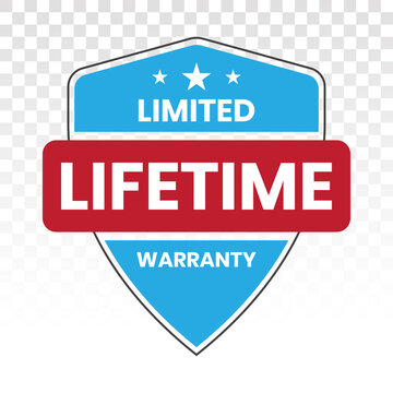 Limited lifetime warranty seal or stamp - flat colour icon for apps or website