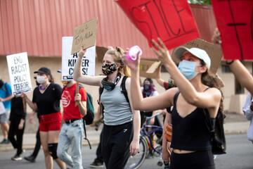 March against the death in Minneapolis police custody of George Floyd, in Denver, Colorado