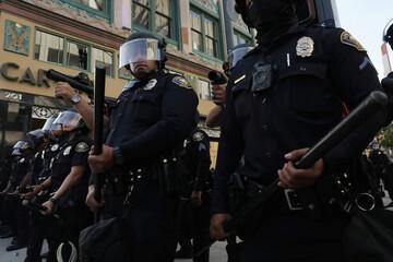 Protest against the death in Minneapolis police custody of George Floyd, in Long Beach