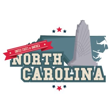 North carolina map with wright brothers memorial