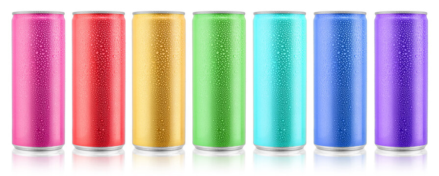 Various color beverage aluminium metal cans with condensate water drops design template. Isolated on white background. Clipping path for each object.