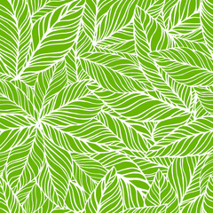 Seamless pattern tropical leaf background. Hand drawn vector illustration.  Perfect for greetings, invitations, manufacture wrapping paper, textile, web design.