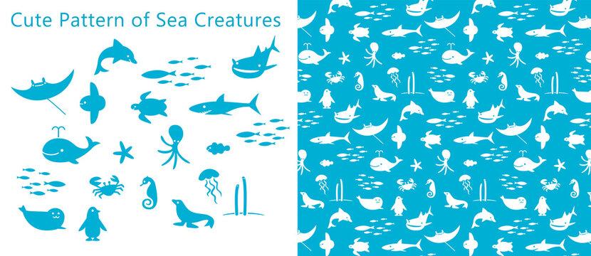 可愛い海の生物のパターン