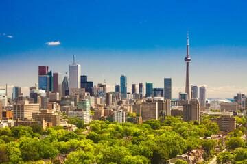 Tuinposter Toronto Canada - Ontario - Toronto - The beautiful summer sunny day panorama of Toronto downtown skyline with CN Tower