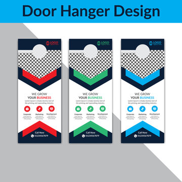 Door hanger template, Set of door hangers background. Door hanger mockup. Vector illustration, corporate door hanger design, Door hanger tags, do not disturb and make up room sign Premium Vector,