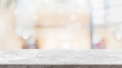 Empty white marble stone table top and blur glass window interior lobby and hall way banner mock up abstract background - can used for display or montage your products. Fotomurales