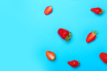Sweet ripe strawberry on color background