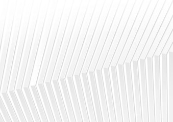 Fotobehang - Grey and white geometric minimal background with abstract 3d stripes. Vector design