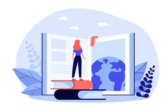 Student girl standing at open book, studying global literature, training skills. Flat vector illustration for education, knowledge, school, library concept