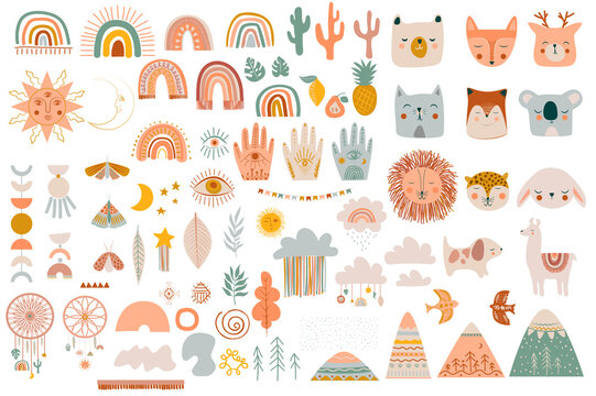 Set of cute kids boho elements, hand draw doodle and animals. Cartoon doodle kids illustration template in scandinavian style. Editable vector illustration.