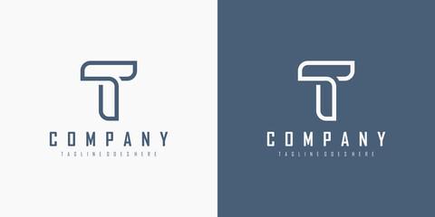 Fototapeta Initial Letter T Logo. Monogram Linear Style isolated on White and Blue Background. Usable for Business and Branding Logos. Flat Vector Logo Design Template Element. obraz