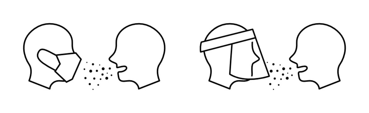 フェイスマスクやフェイスシールドを使用して病気の飛沫感染を予防すること