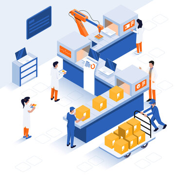 Innovative contemporary smart industry: product design, automated production line, delivery and distribution with people, industry 4.0 concept. Modern Flat Isometric Vector design