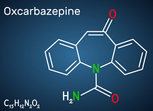 Oxcarbazepine, C15H12N2O2 molecule. It is antiepileptic, anticonvulsant drug used in treatment of seizures, epilepsy, bipolar disorder. Structural chemical formula on the dark blue background