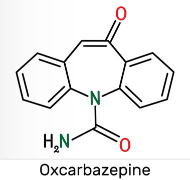 Oxcarbazepine, C15H12N2O2 molecule. It is antiepileptic, anticonvulsant drug used in treatment of seizures, epilepsy, bipolar disorder. Skeletal chemical formula