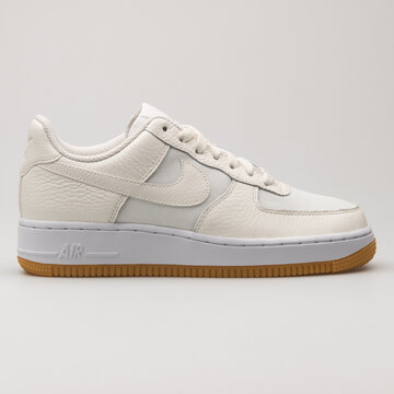 VIENNA, AUSTRIA - FEBRUARY 19, 2018: Nike Air Force 1 07 Premium sail and white sneaker on white background.