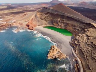 Deurstickers Canarische Eilanden Volcanic crater with a green lake in El Golfo, Lanzarote. Aerial view