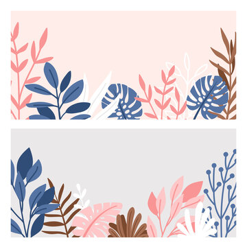 Decorative border of branches and leaves. Illustration foliage with minimalism plants, pink and grey elegant frame background, decorating vector drawing style