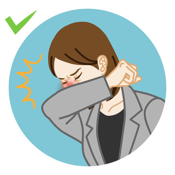 Coughing businesswoman covered mouth by arm - circular icon clipart