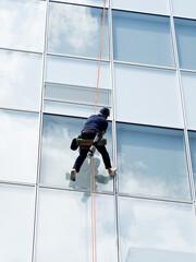 Fototapete - ビルのガラス磨き