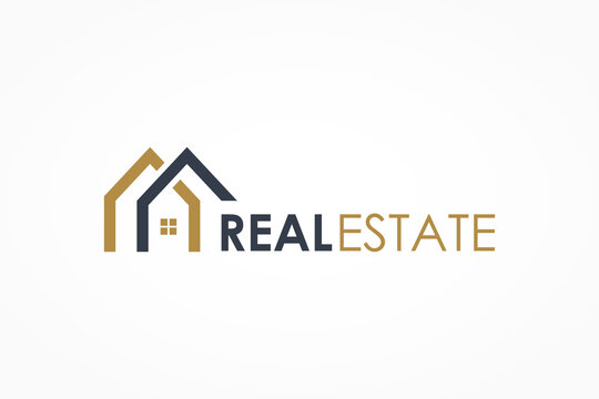 Real Estate Logo. Gold and Blue House Symbol Geometric Linear Style isolated on White Background. Usable for Construction Architecture Building Logo Design Template Element.