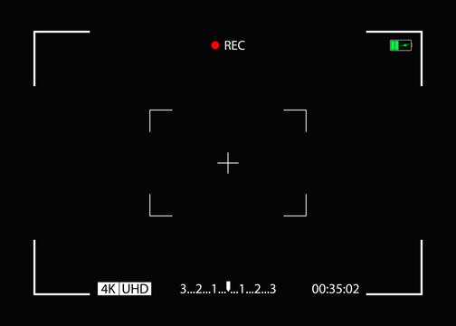 Camera frame. Video screen with rec, viewfinder. Background for record movie. Display with focus, time, battery for videography, surveillance. Template for photography, cinema. View from cam. Vector