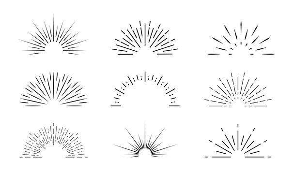 Sunburst icon. Sun burst with lines. Retro logo of half circle with radial rays. Graphic burst of sunshine light. Starburst with sunrise. Vintage elements and sparks for abstract design. Vector