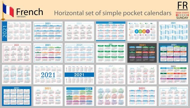 French horizontal pocket calendar for 2021