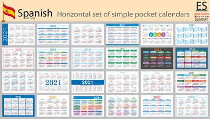 Spanish horizontal pocket calendar for 2021