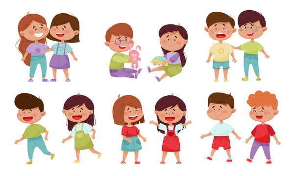Friendly Little Kids Sharing Toys and Socializing with Each Other Vector Illustrations Set